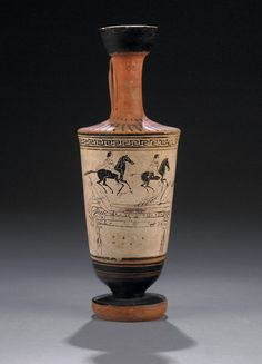 Archaic black-figured lekythos BC), the Dioscuri galloping to a feast - British Museum Greek Pottery, Black Figure, Black Horses, Museum Shop, Greek Art, Detailed Image, British Museum, Greece, Gallery