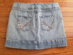 WOMENS 20 stretchy VENEZIA denim SKORT shorts under SKIRT faded SEQUINED, CUTE!