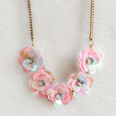 DIY J.Crew-Inspired Sequin Flower Necklace Tutorial - jamiebhannigan.com