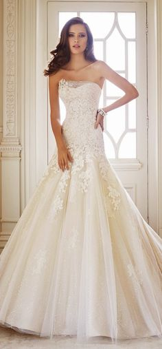 Lace and shimmer ~ Sophia Tolli Fall 2014 Bridal Collection   bellethemagazine.com