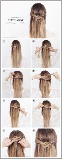 DIY Celtic Knot hair diy hair ideas hairstyles hair knot hair pictures hair tutorials hair designs - www. Braided Hairstyles Tutorials, Diy Hairstyles, Wedding Hairstyles, Easy Hairstyle, Style Hairstyle, Braid Tutorials, Beauty Tutorials, African Hairstyles, Hairstyle Ideas