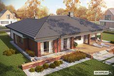 Projekt domu AC Dominik (wersja B) CE - DOM - gotowy koszt budowy Patio Grande, Design Case, Home Fashion, Villas, Home Deco, Home Projects, Planer, Beautiful Homes, Gazebo