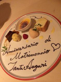 デザート(結婚記念お祝いプレート。エスプレッソプリン、口溶けバターケーキ、クリームブリュレ、レーズンとイチゴのジェラード)