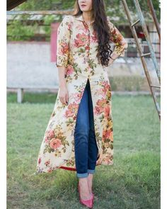 Buy The Secret Label Beige Cotton Floral Front Slit Kurti online in India at best price.Vintage floral printed maxi cape with a shirt collar neckline and front button placket. The sleeve cuff Kurti Designs Party Wear, Kurta Designs, Blouse Designs, Dress Designs, Stylish Dresses, Fashion Dresses, Front Slit Kurti, Looks Plus Size, Ethnic Dress