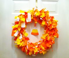 Candy Corn Fabric Scrap Wreath  This is the cutest!  Made this. Easy and fast.