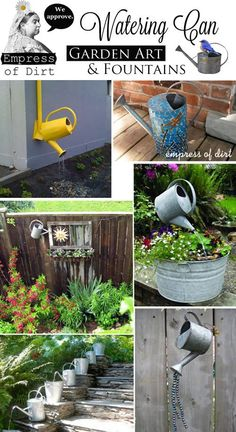 Garden Sculpture | Permalink To: Galvanized Watering Can Garden Art U0026  Fountains