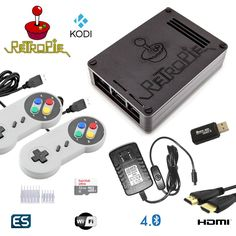 Raspberry PI 3 Based Retro Emulation Game Console 32GB Kit with 2 SNES Type Controllers - RetroPie, Kodi Installed