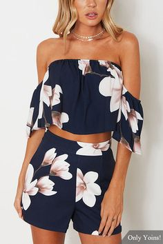 Floral Slash Neck Sets Woman Two Pieces Suit Female Summer Tops For Women outfit blusas femininas de verao 2018 Roupas woma Plus Size Maxi Dresses, Short Sleeve Dresses, Two Piece Outfits Shorts, Two Piece Rompers, Shorts Co Ord, Very Short Dress, Summer Outfits, Cute Outfits, Romper Outfit