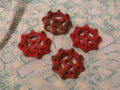 Vintage Red Iron Valve Handles - Set of Four (4) Garden Valves  -  17-298 by BubbiesMemories on Etsy