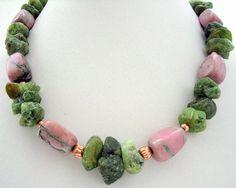 Necklace  Rhodonite nuggets  Row Green Garnets by Jewelsforhealing