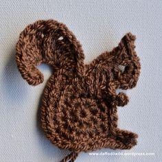 Ravelry: Squirrel Motif pattern by Wild Daffodil Crochet Baby, Free Crochet, Knit Crochet, Crochet Patterns, Crochet Appliques, Daffodils, Crochet Flowers, Halloween, Squirrel