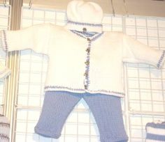 Knitted on Hand Knitting Machine Infant Boys Outfit Sweater Cardigan Hat Set White Cotton Denim Trim Denim Pant Gita. $79.99