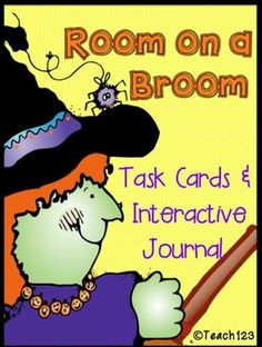 HALLOWEEN:  ROOM ON A BROOM - Interactive Journal, Task Cards, and literacy center.  Activities include:  homophone, -oom and -itch word family, beginning/middle/end, compound words, dictionary skills, and more.  $