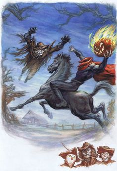 Disney's Scarecrow and the Headless Horseman Comic Art. I liked the Scarecrow as a kid. He was the local Vicar in disguise who helped the local smugglers. Typically, though, they were all really the Good Guys. Halloween Artwork, Halloween Pictures, Halloween Horror, Fall Halloween, Peanuts Halloween, Happy Halloween, Sleepy Hollow Headless Horseman, Creepy Pictures, Mexica