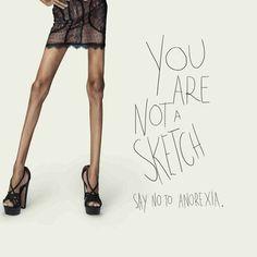 Campanha contra anorexia compara modelos a sketches.