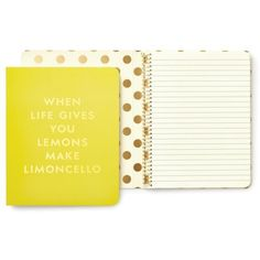 Kate Spade New York Bright Yellow Concealed Spiral Notebook-... ($14) ❤ liked on Polyvore featuring home, home decor, stationery and bright yellow