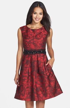 I love this fit and flare dress - the embellished waist is the best