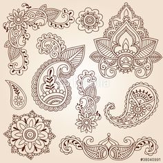 Вектор: Henna Mehndi Doodles Paisley Design Elements