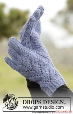 Изящные перчатки спицами для женщин с ажурным узором на тыльной стороне.  Модель из коллекции DROPS осень/зима 2016-2017 года.  Размеры: Один размер  Материалы: