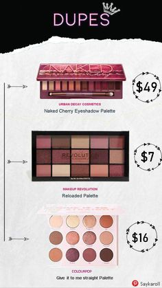 Dupes of Urban Decay Naked Cherry Eyeshadow Palette Drugstore Makeup, Eye Makeup, Makeup Stuff, Makeup Products, Makeup Tips, Beauty Dupes, Beauty Skin, Beauty Hacks, Makeup Palette