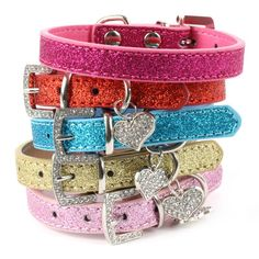 Pet Bling Bling Leather Love Heart Crystal Diamond Pendant Dog Cat Pet Collar Necklace H1 #clothing,#shoes,#jewelry,#women,#men,#hats,#watches,#belts,#fashion,#style