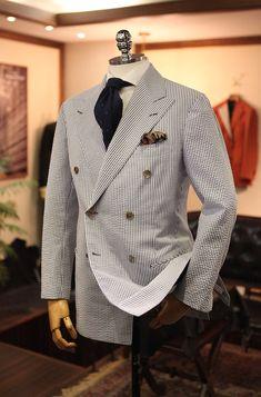 seersucker, double brested, doppiopetto, stilemaschile, stile, uomo, eleganza, giacca, sartoria, bespoke