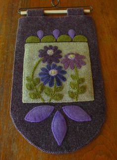 "Wool applique PATTERN ""Purple on the Prairie"" wall hanging penny rug folk art stencil primitive hand dyed rug hooking wool quilt pattern"