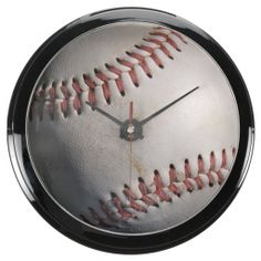 Baseball Aquavista Clocks - $64.95 - Baseball Aquavista Clocks - by RGebbiePhoto @ zazzle - A white baseball, dirty from being played with, stitching faded but still red.