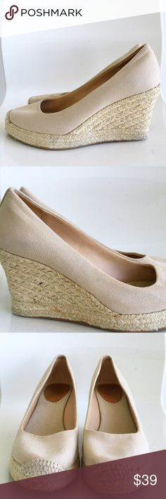 "J. Crew Nude Espadrille wedges J. Crew Nude Espadrille wedges! Perfect wedges for an effortless summer look! In Greta condition. Has a stain on one side. (See photo) slip on style. Round toe. Leather lining. 3 1/5"" heel. Canvas upper. Size 7. Fits true to size. J. Crew Shoes Espadrilles"