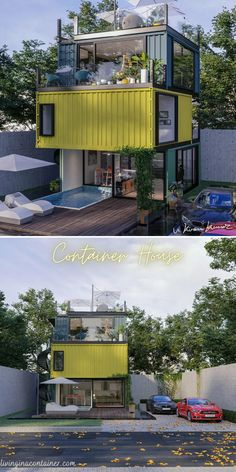 Sea Container Homes, Building A Container Home, Container House Design, Container Houses, Shipping Container Buildings, Shipping Container Homes, Model House Plan, House Plans, Casas Containers