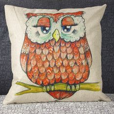 """Luxbon Red Sleeping Owl Cotton Linen Throw Pillow Case Cushion Cover 18 x 18""""/45X45CM Insert Not Included(Export)(Intl)"""