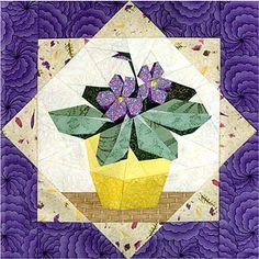 African Violets Paper-Pieced Quilt Pattern at Paper Panache