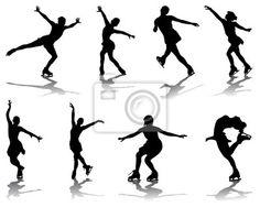 Fotomural Siluetas y sombras de patinaje, vector Roller Skating, Ice Skating, Figure Skating, Skates, Wall Sticker, Art Sketches, Wall Murals, Silhouettes, Tatoo