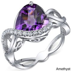 Oravo Sterling Silver Trillion Gemstone and Cubic Zirconia Ring (Amethyst Size 8), Women's, Purple