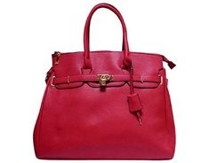 XXL DESIGNER STYLE RED TRAVEL HOLDALL HANDBAG WITH LOCK, KEY AND LONG STRAP A-SHU.CO.UK, £34.99