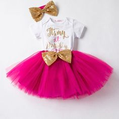 Beautiful 3-Piece first birthday outfit for girls. Set includes a bodysuit with a glittery design that says Its my 1st Birthday, tutu with sequin bow and matching headband with sequin bow. 4 colors to choose from! We stand behind our product 100%. No refunds are given, however, if