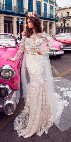 36 Totally Unique Fashion Forward Wedding Dresses ❤ trendy blush sheath lace neckline long sleeves with capes fashion forward wedding dresses lorenzo rossi ❤ See more: http://www.weddingforward.com/fashion-forward-wedding-dresses/ #weddingforward #wedding #bride