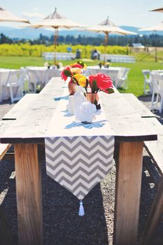 Chevron outdoor brunch wedding