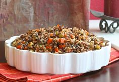 Healthy Wild Rice Stuffing is a delicious alternative to the traditional bread stuffing. It's perfect for a holiday side dish! Gluten and dairy free.