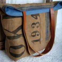French grain sack turned tote bag.