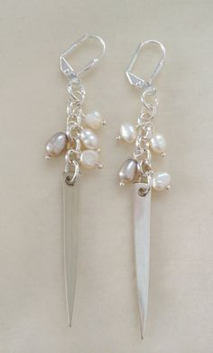 Cream and Grey Fresh Water Pearl  Fork Tine by georginabaker, $25.00