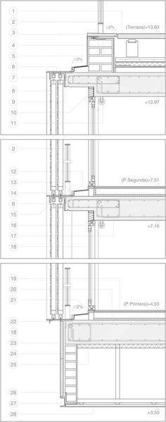 052 Public Housing in Lavapiés Detail Architecture, Architecture Drawings, Architecture Plan, Curtain Wall Detail, Building Skin, Construction Drawings, Architectural Section, Detailed Drawings, Technical Drawings