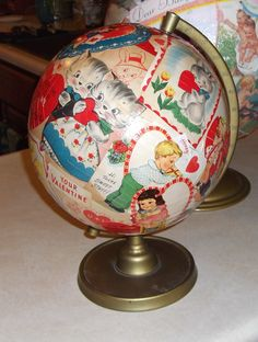 DIY love makes the world go round, LOVE THIS!  Have to look for old globe now....Too cute !