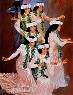 """Hula Holoku....by Herbert """"Herb"""" Kawainui Kāne (June 21, 1928 – March 8, 2011). He is considered one of the principal figures in the renaissance of Hawaiian culture in the 1970s, was a celebrated artist-historian and author with a special interest in the seafaring traditions of the ancestral peoples of Hawaiʻi."""