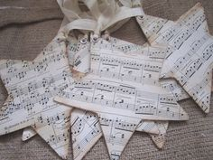 Vintage Sheet Music Star Ornaments Set of 6 - Christmas - Shabby Christmas.