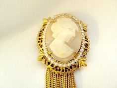 Cameo Vintage Tassel Pin by Geno Division of Richelieu via Etsy