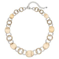 Napier Two Tone Hammered Circle Link Necklace, Multicolor