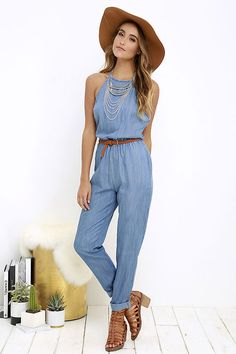 44c7f999f068 RVCA Be About It Blue Chambray Jumpsuit