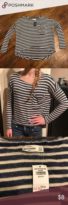 Abercrombie Kids Striped High/Low Light Sweater New with Tag in Great Condition. Never worn, but some slight pulls in the yarn (shown). Not noticeable due to the 'slouched' nature of the sweater. Thin sweater material would need a tank or cami underneath. Runs big, fits more as a Girls Large. Bundle with other Abercrombie items and save! abercrombie kids Shirts & Tops Sweaters