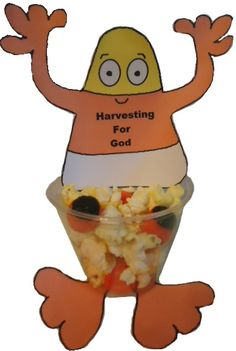 "Candy Corn ""Harvesting For God"" Cup Craft for Sunday school."